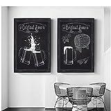 Xuetaozz Fondo blanco y negro taza de cerveza barril de cerveza lienzo pintura cartel arte de la pared decoración del arte de la cocina-50x75cmx2 sin marco