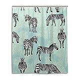 JSTEL Decor Duschvorhang Zebra Blue Palm Pattern Print 100prozent Polyester Stoff Duschvorhang 152,4 x 182,9 cm für Home Bad Deko Duschvorhang