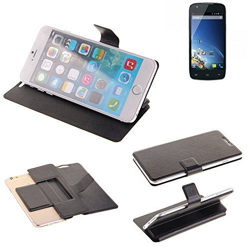 K-S-Trade® Handy Schutz Hülle Für Kazam Th&er Q4.5 Flip Cover Handy Wallet Case Slim Bookstyle Schwarz