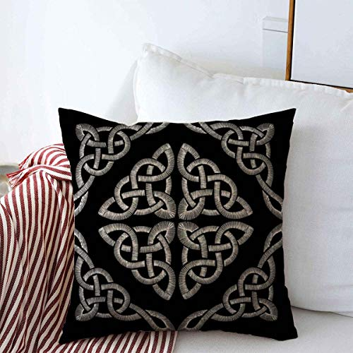 Staroutah Throw Pillows Cover 18 x 18 Inches Drawing Blue Neckline Celtic Knot Pattern Traditional Beauty Vintage Abstract Black Border Canvas Cushion Case Cotton Linen for Fall Home Decor