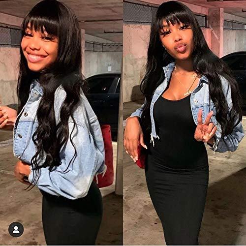 """Aopusi Human Hair Wigs with Bangs Body Wave None Lace Front Wigs 100% Unprocessed Brazilian Virgin Remy Human Hair for Black Women Glueless Full Machine Made Wigs(10"""", Natural Color)"""