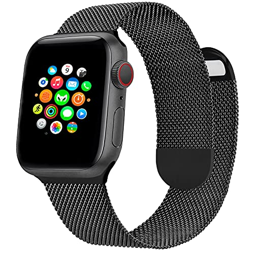Correa de Reloj Metálica Milanesa Compatible con Apple Watch Band 44 mm 42 mm, Pulsera de Repuesto de Malla de Acero Inoxidable Ajustable Magnética para iWatch Series 6 5 4 3 2 1 SE, Negra