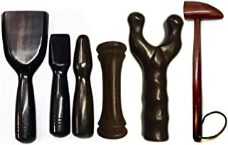 Tok Sen Hammer Set, Dumbbell, Bident, Percussion Stick, Wooden Massager Tool Deep Tissue Therapy Toksen Massage Trigger Point Back Muscle Foot Strike Wedge Stamp Percuss Wood Thai