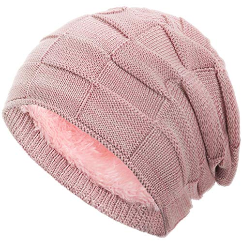 Compagno Gorro de invierno tipo slouch beanie de punto cesta con suave interior de forro polar, Color:rosas moteado