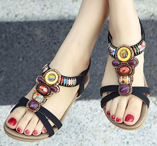 Damen Sommer Sandalen, Schwarz - 5