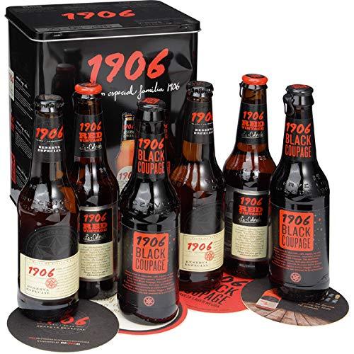 Lata colección Estrella Galicia 1906 - Incluye Lata de colección, 2x 1906, 2x 1906 Red Vintage, 2x 1906 Black Coupage, Folleto y Posavasos de Estrella Galicia