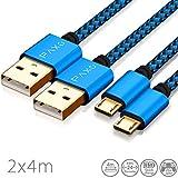 2 x 4m Câble Micro USB en Nylon de Charge et de données pour manettes PS4, Couleur Bleu-Noir avec...