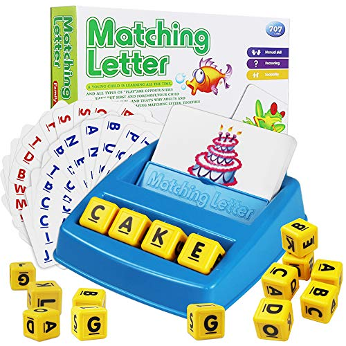 Cokoka Matching Letter Game with 16 Letter Cubes Word Spelling Game Preschool Learning Toys for Kids Age 38  Best Preschool Educational Toys