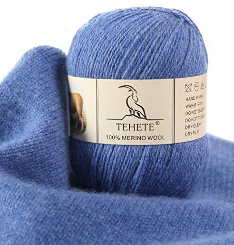 TEHETE Ovillo de lana, 100% Hilados de lana merino Hilo 50g para manta, suéter calcetín, bufanda, diy, ganchillo y tejido(Violeta Azul)
