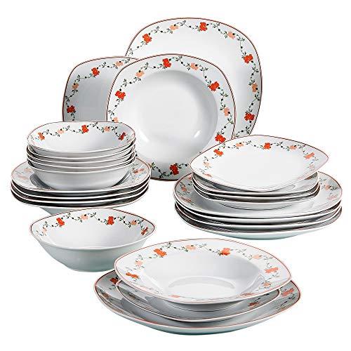 VEWEET Gloria Juegos de Vajillas 24 Piezas de Porcelana con 6 Cuencos de Cereales, 6 Platos, 6 Platos de Postre y 6 Platos Hondos para 6 Personas