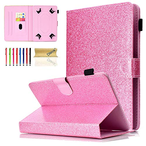 Universal 8.0 inch Tablet Case, Dteck Glitter Stand Folio Flip Wallet Case for All 7.5-8.5 inch iPad Mini 1 2 3 4, Galaxy Tab A 8.0/Tab E 8.0, Amazon Fire HD 8.0 inch Tablet, Pink