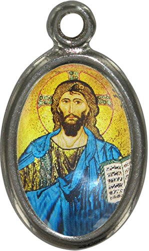 Medalla Cristo Pantócrator con Libro Abierto de Metal niquelado y Resina - 2,5 cm