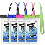 """ZEINZE Waterproof Case Universal Waterproof Phone Bag Pouch Drg Bag for iPhone 11 Pro Max XS Max XR X 8 7 6S Plus Galaxy Pixel Up to 6.5"""" 4 Pack"""