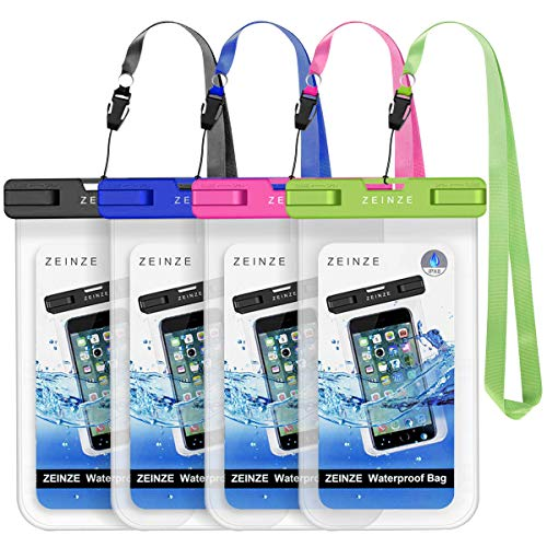 "ZEINZE Waterproof Case Universal Waterproof Phone Bag Pouch Drg Bag for iPhone 11 Pro Max XS Max XR X 8 7 6S Plus Galaxy Pixel Up to 6.5"" 4 Pack"