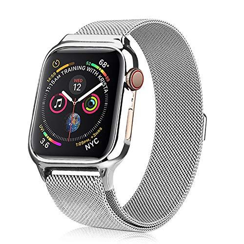 PULLEY Compatible con correa de Apple Watch de 38 mm, 40 mm, 42 mm, 44 mm, malla de acero inoxidable con cierre magnético ajustable, correas de repuesto compatibles con Iwatch Series 5, 4, 3, 2 1