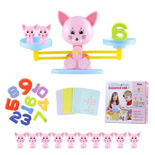 Colmanda Juguete Matemático de Equilibrio, 64 Piezas Juguete Balance Matemático Balanza Juguete Equilibrar Juego Ideal para Niños Aprender los Números (Gatito)
