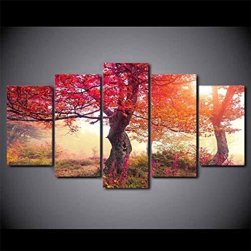5 Piezas Lienzos Cuadros Pinturas Red Tree Nature Impresiones En Lienzo Decoración para El Arte De La Pared del Hogar, Salón Oficina Mordern Decoración Artística