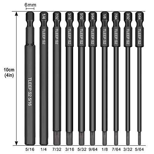 TLEEP 10 x 1/4 Inch Hex Head Allen Wrench Drill Bits 100mm w/ Magnetic Tips Screwdriver Socket Bit Set for Ikea Type Furniture(S2 Steel 5/64 inch to 5/16 inch)
