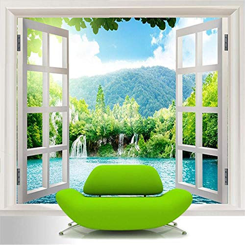 Benutzerdefinierte 3D Wandbild Tapete Fenster 3D Wasserfälle Waldansicht Kunstwand Wohnzimmer Schlafzimmer Flur Kinderzimmer Fototapete 430x280cm