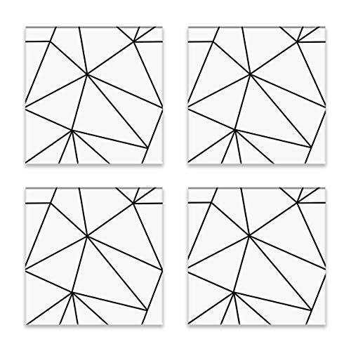 Mono geométrico blanco negro posavasos para bebidas cerámica corcho Set para tazas tazas café vino vidrio frío bebidas calientes mesa protección 4 piezas