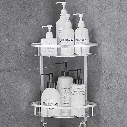 Estantería de ducha sin agujeros, estantería de baño para esquina, 2 pisos, para champú, etc.