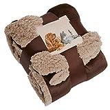 Brentfords Sherpa Dog Puppy Cat Pet Blanket Large Cosy Soft Fluffy Warm Animal Kitten Kennel Mat Warm Throw Over Plush Fleece, Chocolate Brown Beige - 75 x 110 cm