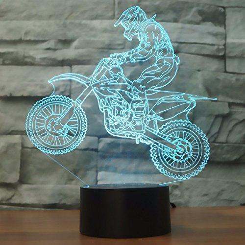 3D óptico Illusions LED Lámparas, Moto, LSMY Lámpara de mesa de mesa táctil Decoración hogareña 7 colores Efectos luminosos únicos para Regalo de la Navidad de los niños