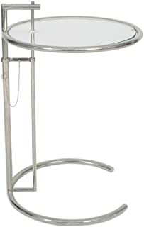 Emorden Furniture Eileen Gray End Table. Adjustable Height Table, Safe Tempered Circle Leveled Glass Top, Stainless Steel Tubular Frame for Firm & Durability, Metal Side Table. Easy to Move.