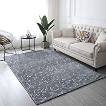 Three Dimensional 3D Embossed Area Rugs Carpet Living Room Bedroom Hallway Decorative Non Slip (Grey,120x160 cm)