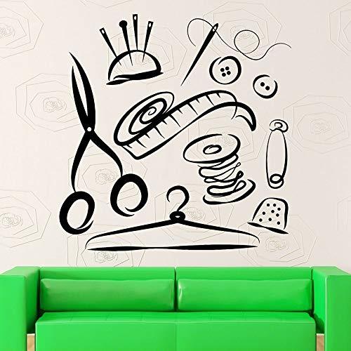 Pegatinas de pared para mujer, tijeras, sastre, estudio de costura, vinilo, ventana, vidrio, calcomanías, dormitorio, herramientas de costura, Mural, decoración interior
