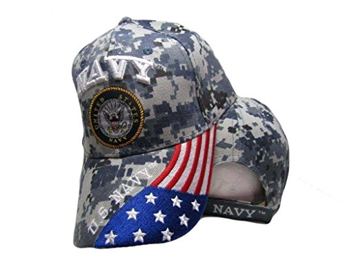 AES U.S. Navy USA American Blue ACU Digital Camo Camouflage Embroidered Cap Hat