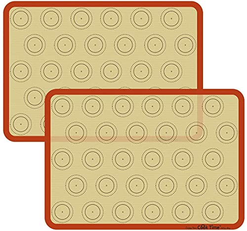 Macaron Silicone Baking Mat - Set of 2 Non Stick Silicon Macaroon Baking Sheet Cookie Liner(BPA Free/Reusable/Half Sheet),Perfect Cooking Kit for Macarons,Pastry,Cake and Bread Making (Orange)