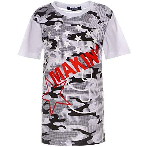 BEZLIT Camouflage 21764 - Maglietta a Maniche Lunghe da Ragazzo Bianco 14 Anni