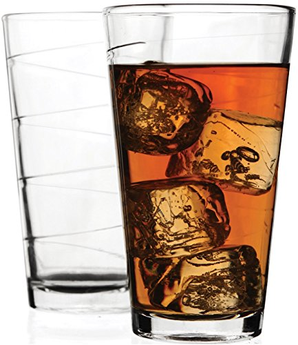 Circleware Ridge Drinking Glasses, 16 Ounce, Set of 4