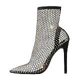 LISHAN Women's Fishnet Sock Sandals Booties Rhinestone Clear Stiletto Heels Stockings Pointed Toe High Heels Pumps Black Size7.5