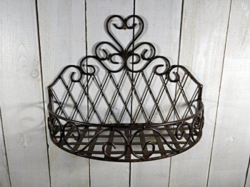 Manufaktur-Lichtbogen Pflanzkorb aus Metall - 25x35x16 cm - Wandkorb Blumenregal Metall Wand Balkon