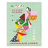Insire Vintage Japan Poster Prints - Set of 1 Unframed (11x14 inches) Japan Travel Decor - Traditional Japan Travel Wall Art - Kimono Dress - Kyushu Okinawa - Asia Asian Wall Art for Home, Room, Bedroom, Office, Decorations