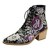 POLP Botines Mujer Tacon Medio 5 cm Invierno Estilo Nacional Botas Cortas de Mujer con Bordado y Cordones Zapato de Tacón con Punta Botas Altas