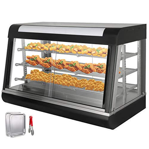 VEVOR Speisenwärmer Wärmeschrank 3 Schichte elektrisch Warmhaltebehälter mit Schiebetüren und Wasserspeicherbox große Kapazität