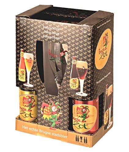 4 Flaschen Brugse Zot 33 cl + Glas belgisches Bier geschenk/probier paket Craft Beer