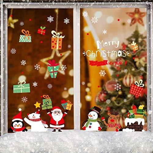UMIPUBO Pegatinas de Navidad Dibujos Animados de Puerta de Cristal Dibujo Navidad Pared Decorativos Cabina de Navidad la decoración del hogar de Ventana Pegatinas de Pared Decorativos ⭐