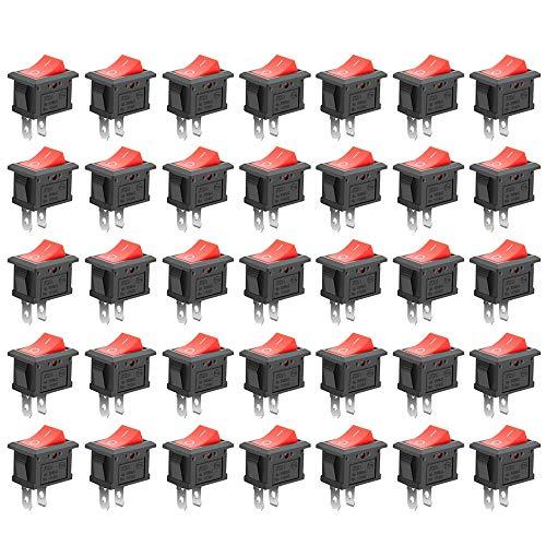 GTIWUNG 35Pcs Auto Boton Interruptor Rocker Switch, Interruptor Coche Rocker Interruptor 10A/125V, 6A/250V SPST On/Off Mini Interruptor Electrónico para Automóviles, Barcos, Electrodomésticos, Rojo
