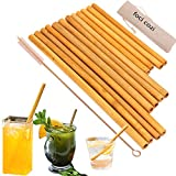 """Bamboo Drinking Straws. Reusable Bamboos Straws Alternative to Plastic Kids Straws. Set of 12 Reusable Bamboo Straws with 3 Sizes 6"""", 8"""", 9""""for different size Cups - Includes 1 Bonus Nylon C"""