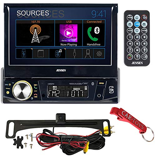 """Jensen CMR3710 7"""" Motorized Touchscreen Receiver Bundle with HD Backup Camera and Remote. Compact Single-DIN, Internal Amp, Bluetooth, SiriusXM Ready, Push-to-Talk PTT Button for Phone Voice Assistant"""