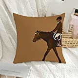 Decorative Throw Pillow Covers Velvet Jump Equestrian Jumper with Ride Horse Animals Wildlife Sports Recreation Purebred Equine Stallion Cushion Cover for Sofa Couch Living Room Bedroom 20x20 Inch