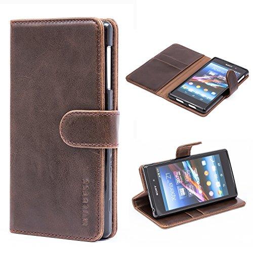 Mulbess Handyhülle für Sony Xperia Z1 Hülle Leder, Sony Xperia Z1 Klapphülle, Sony Xperia Z1 Handy Hülle, Schutzhülle für Sony Xperia Z1 Tasche Flip Etui, Coffee Braun
