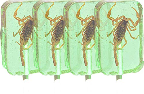 Hotlix Assorted Scorpion Suckers - Apple Flavored (Pack of 4) - Premium Bug Candy
