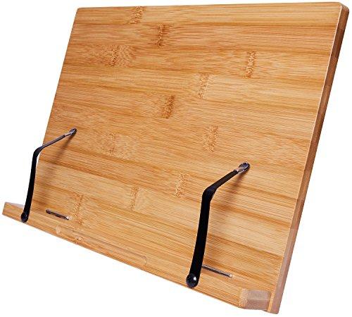 Harcas Bambus-Kochbuchständer Halter für Bücher, iPads, Tablets und Smartphones. Hergestellt aus wunderschönem, umweltfreundlichem Bambus. Leicht für große oder kleine Kochbücher
