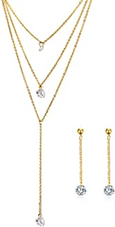 Mealguet Jewlery 3 Layers Multilayer Cubic Zirconia Charm Lariat Sexy Long Chain Y Necklace Dangle Earrings Jewelry Set