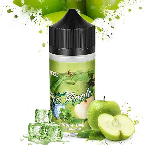 IMECIG® Premium Liquids E Liquid Vape für E Zigaretten/Elektrische Zigarette/E Shisha, VG/PG 70/30, ohne Nikotin, 100ML (Eis Apfel)